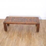 Table basse brutlaliste chene et ceramique de Roland Zobel