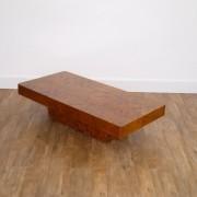 Table basse vintage en loupe d'orme 1970 dans le gout Willy Rizzo
