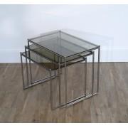 Tables gigognes metal et verre, Italie 1970