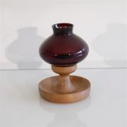 Bougeoir vintage scandinave en bois et verre