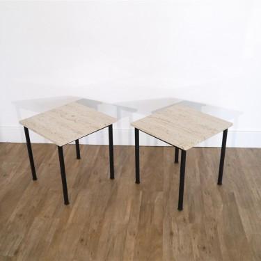Paire de table d'appoint en metal et travertin 1970