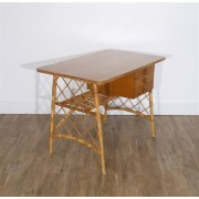 Bureau vintage en rotin attribué à Louis Sognot 1950